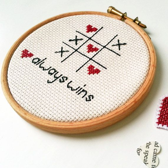 embroidered wall art romantic love cross stitch needlework hoop frame love always wins