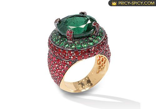 De Grisogono Emerald and Rubies Ring image.jpg