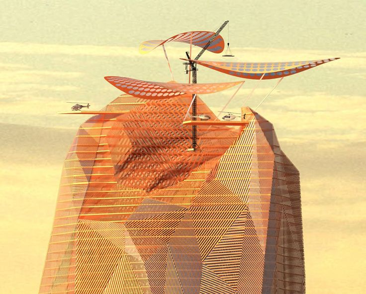a render of the top of OXOarchitects + Nicolas Laisne's vertical city in the sahara desert. The building would be mixed-used, including a hotel, dining facilities and a meteorological observatory with helicopter landing pads at the scheme's upper levels.