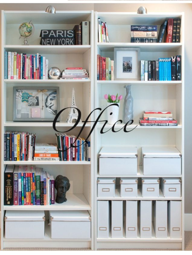 Book Shelf Organization   All White Boxes, Magazine Holders | Organizing |  Office Makeover, Office Decor, Office Bookshelves