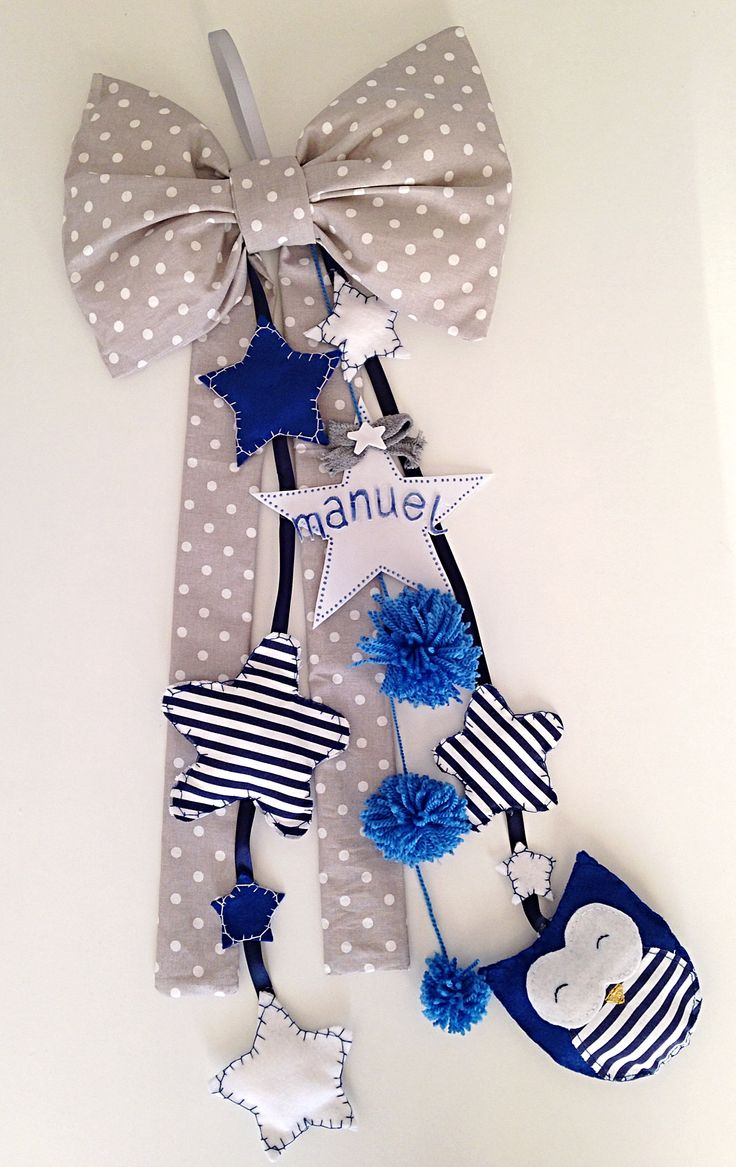 Fiocco nascita bimbo con stelle in stoffa e pannolenci. In gomma crepla la stella personalizzabile con nome