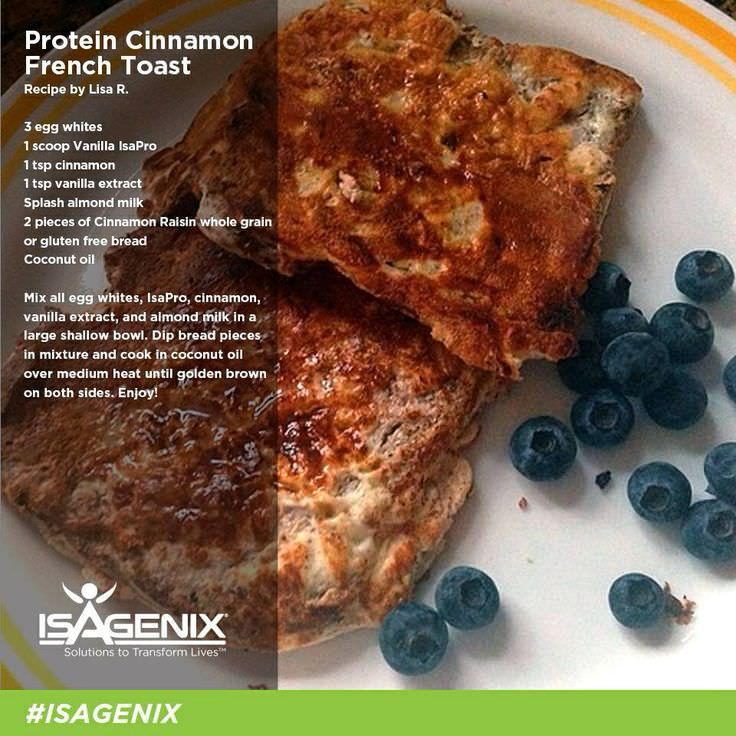 Protein Rich French Toast - http://www.alesstoxiclife.com/recipes/isagenix-whey-protein-recipes/