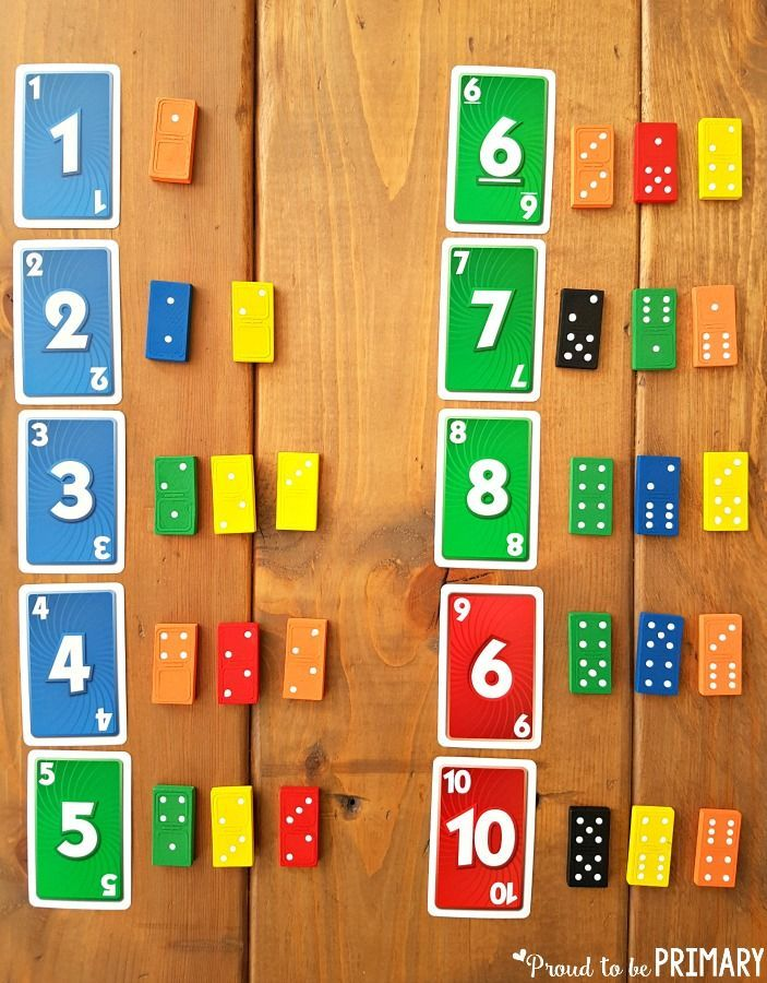 Number Sense and Operations - matching number cards with dominoes for building number sense to 20