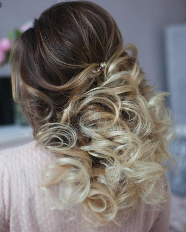 If you are looking for a half-up curly hairstyle look no further than here. This is a cute and easy wedding hairstyle.It all starts off with a beehive which is not to big or not to small then put a clip in the middle of your head then with the rest of your hair curl it. As you can see that the are loose spiral curls done by a wand.  I hope this helped you!