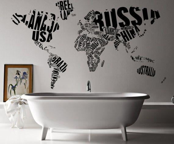 Carte de mots de la WA159 monde de Art Sticker mur