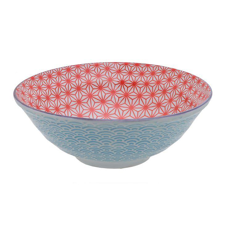 Discover the Tokyo Design Studio Starwave Noodle Bowl - Wave - Red/Light Blue at Amara