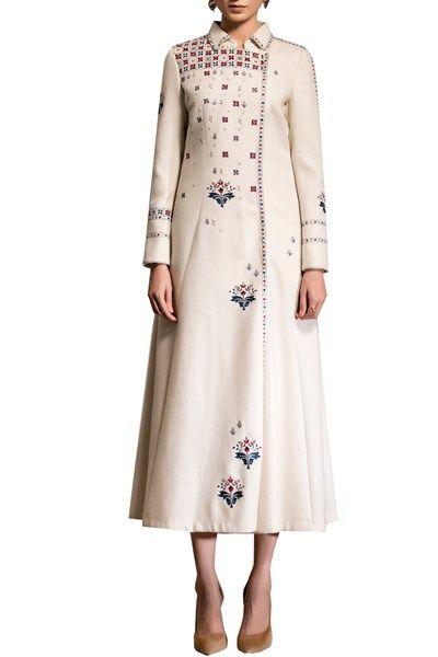 Jackets, Clothing, Carma, Ivory embroidered long jacket ,  ,  ,