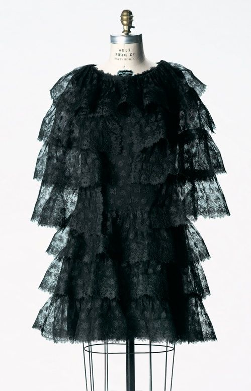 """""""Baby Doll"""" Dress and Cape, Balenciaga (Spanish, 1895-1972): winter 1965, French, cotton lace, silk chiffon, silk satin ribbon. """"'The silhouette is only important if it makes a dress elegant for a woman—nothing else counts.'    -Balenciaga, Women's Wear Daily, 1958""""  """"...Seemingly innocent with its reference to children's dress, the black lace skims over the fitted underdress giving a veiled glimpse of the body underneath. The straight line of the lace accentuates the curved line of the…"""