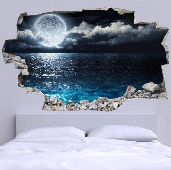 3D Bed Headboard Wall Decal  Full Moon More
