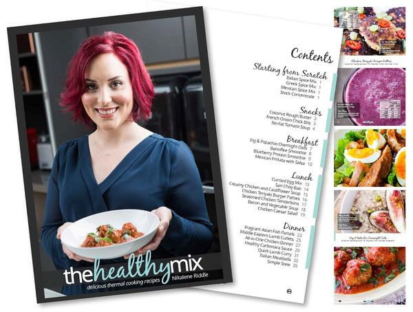 The Healthy Mix Cookbook by Skinnymixers is perfect for creating healthy, gluten free, grain free, soy free or dairy free in the Thermomix