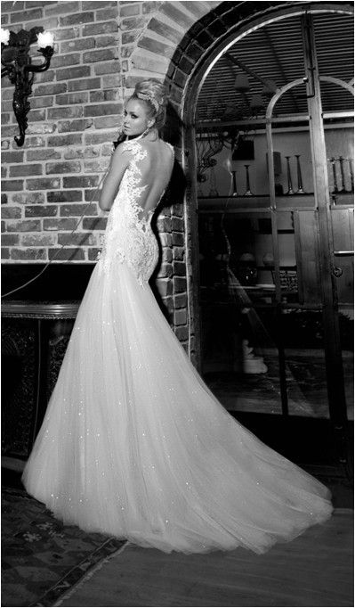 Beautiful Wedding Dresses Sweetheart Spaghetti Lace Unique Mermaid Tulle Appliques Backless Bridal Gowns - babyonlinedress.com