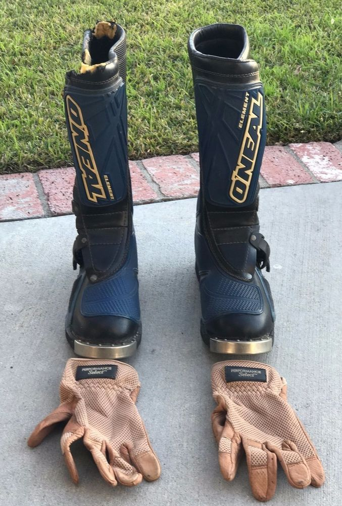 O'Neal Element Men's Motocross Dirt Bike Boots Size 9.5 In Blue and Black&Gloves