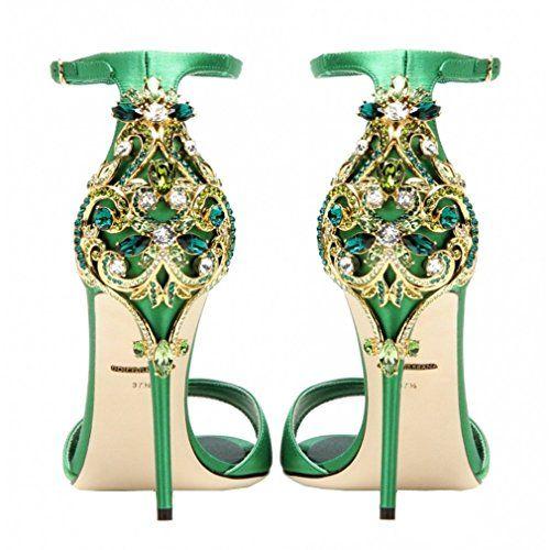 ENMAYER Femmes Semelle en caoutchouc Peep Toe Buckle Strap Stiletto Talons Rhinestone Casual Shoes Sandales en cuir chaussures: Amazon.fr: Chaussures et Sacs