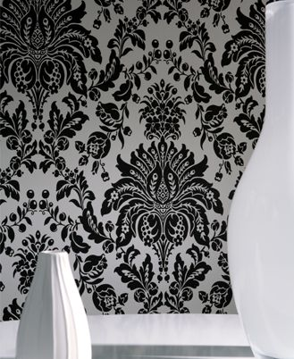 black and white damask wallpaper: http://www.wallpaperandborders.co.uk/wallpaper-shop/#