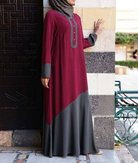 Color block abaya for Modern girls  Girls Hijab Style & Hijab Fashion Ideas