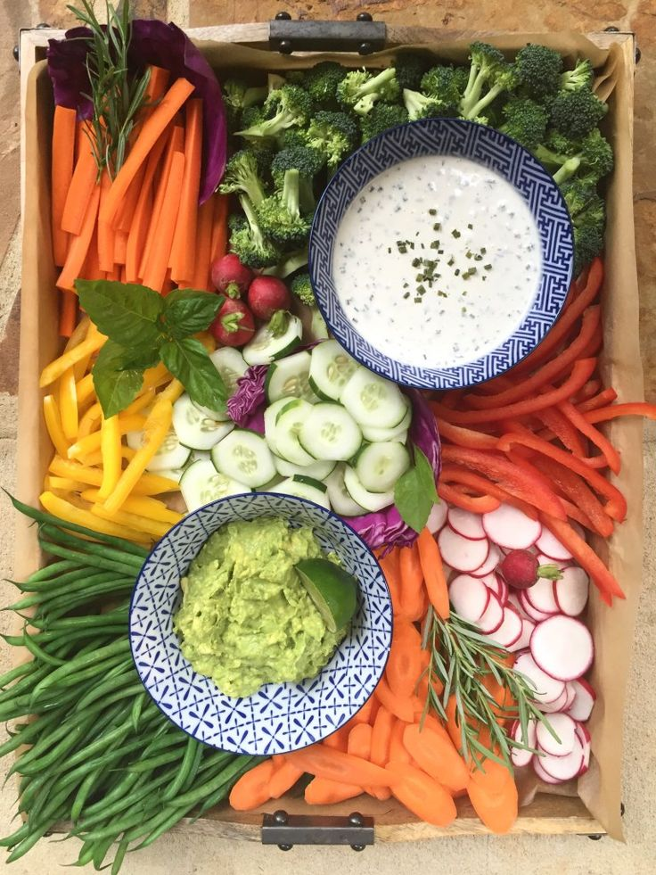 Vegetable Tray with Dairy-Free Ranch Dressing + Wooden and Blue & White Serving Pieces