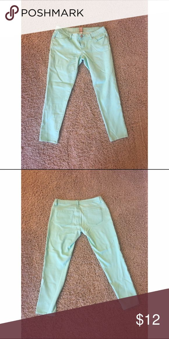 Stretchy Mint Green Capri Pants These pants are perfect with a simple shirt to make a show stopping outfit. They resemble mint green jeans but actually feel like leggings. They are one of the comfiest pair of pants I have ever worn. Celebrity Blues  Jeans Ankle & Cropped