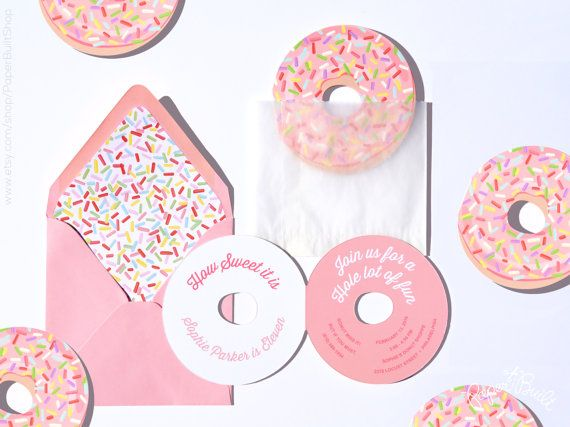 Donut Party, Donut Invitation, Donut Birthday Party Invite, Die Cut, Pink Donut Sprinkles, Donut Bridal Shower, Donut Baby Shower, Doughnut