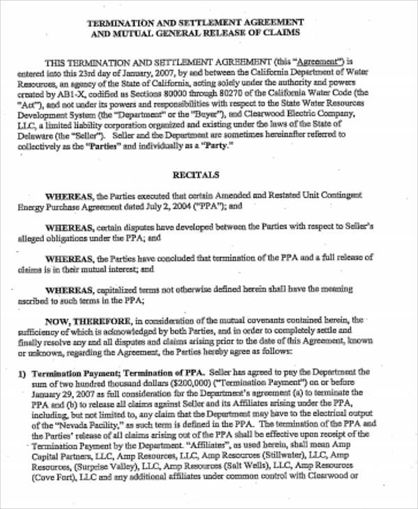 Sample Settlement Agreement Agreement Good Company Informative