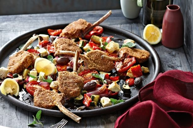 Crumbed lamb cutlets with roast greek-salad vegetables main image