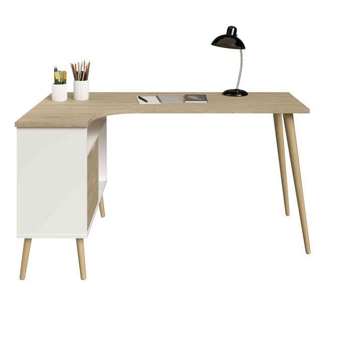 Bureau D Angle Style Scandinave Avec Multiples Rangements Bu1037 Blanc Terre De Nuit La Redoute Meuble Bureau Bureau Angle Mobilier De Salon