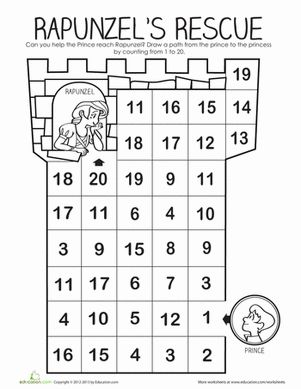 Kindergarten Counting & Numbers Mazes Worksheets: Rapunzel's Number Maze