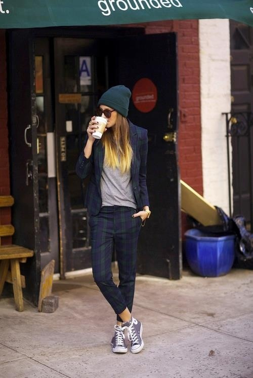 Love the plaid suit, beanie and converse.  Such a fun casual look x