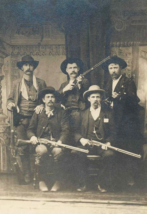 "(Clockwise from left, back row): Bill Smith, Bill Ellis, Paden Tolbert, Gideon S. ""Cap"" White, and Charles Copeland."