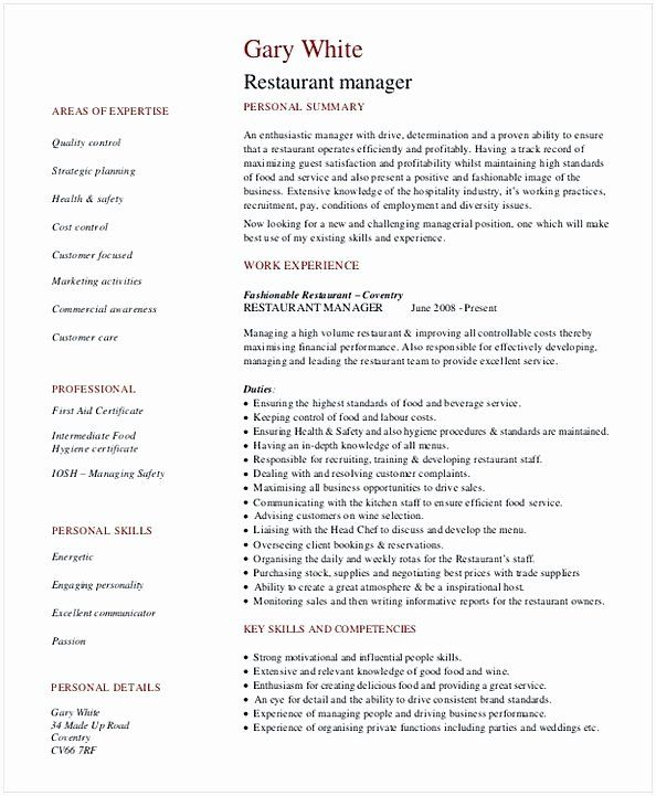 40 Restaurant General Manager Resumes In 2020 Restaurant