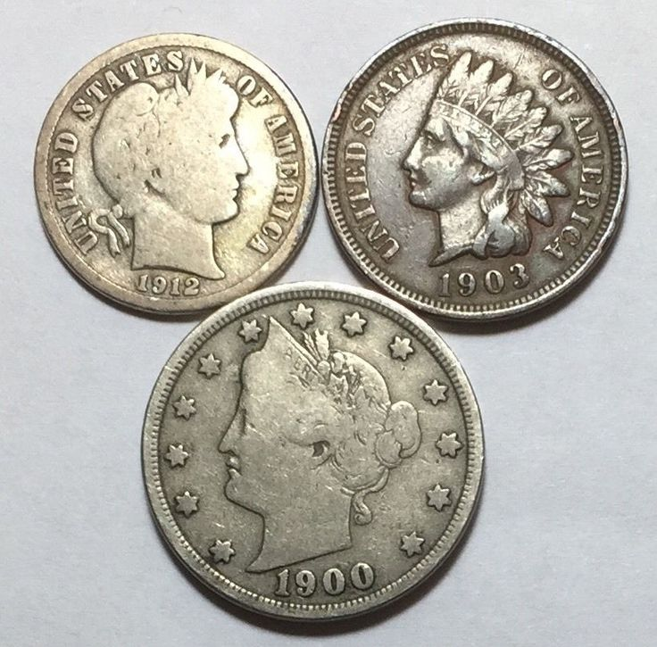 Coin Lot w Barber Dime Indian Head Penny w Full Liberty Amp A Liberty V Nickel   eBay