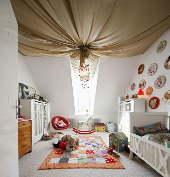 Fabric Ceiling For Craftroom.