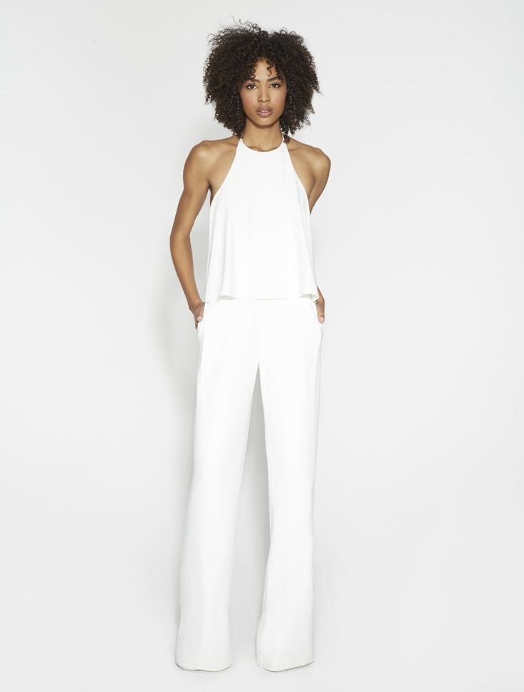 "FLOWY HALTER CREPE JUMPSUIT - CHALK by Halston Heritage ""POCA HONTAS CLOSET #womensfashion #accessories  #genuine #vintage #chic #streetstyle #stylish #outfit #fashionista #modern #designers #instafashion #ootd #lookbook #beachwear #knitwear #summerstyle #brands #freeshipping"""