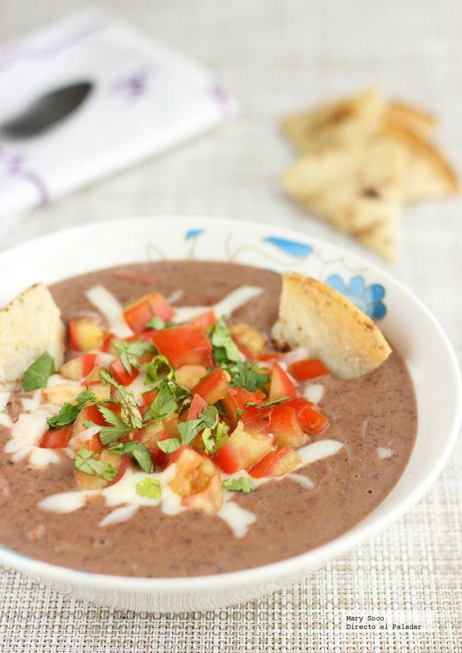 Receta de dip de frijoles negros. Con fotografías paso a paso, consejos y sugerencias de degustación. Recetas de cocina mexicana...