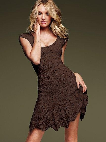749408b14cb Chocolate Brown Crochet Dress