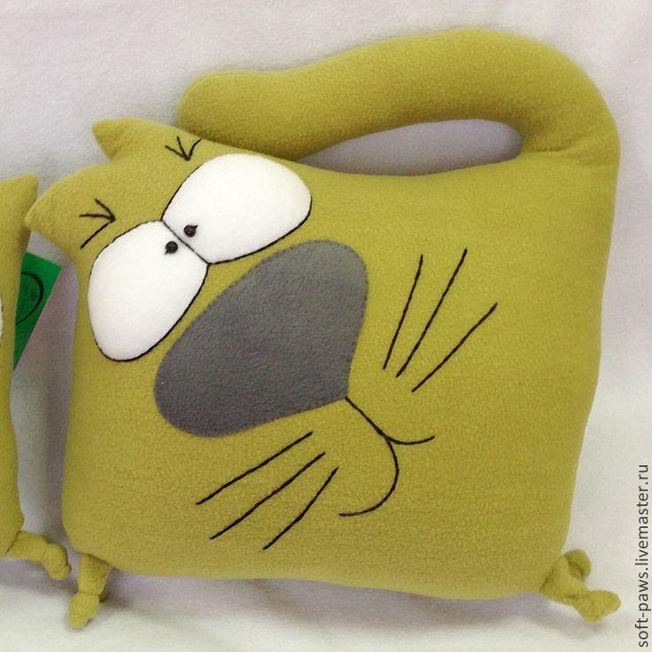 Купить Диванный кот, подушка-игрушка, обнимашка - оливковый, подушка, подушка декоративная, подушка на диван