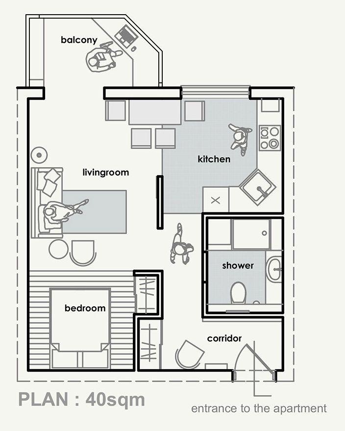 Эклектичный интерьер квартиры-студии 40 кв. м.-1