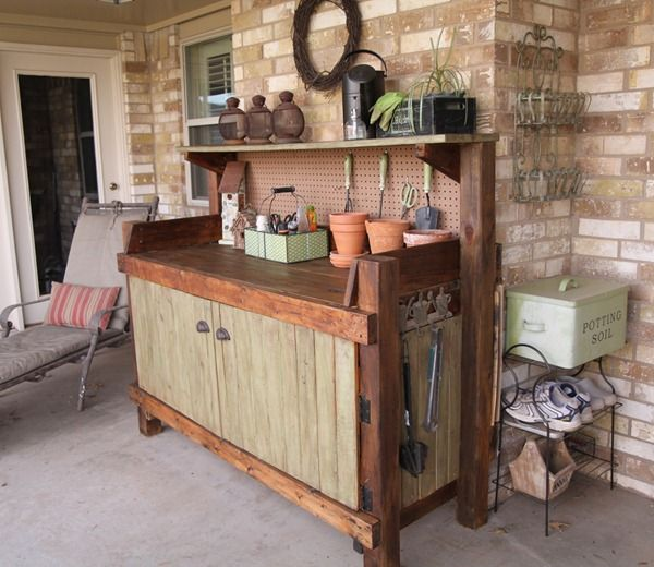 8 potting bench ideas. Love them all! Thinking of setting up a nice cleared area for this up against the back of the house, with overhanging roof, plus gravel area, bushes, and potted plants around it.