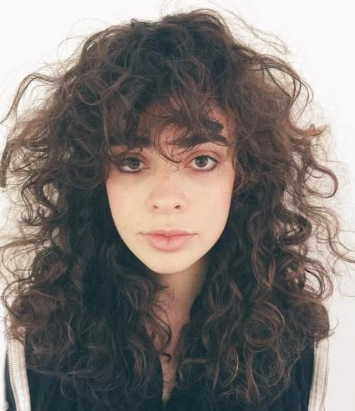 Straight bangs curly hair 2017
