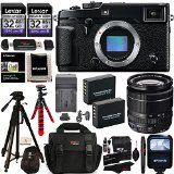 Fujifilm X-Pro2 Professional Mirrorless Camera Fujinon XF 18-55mm f:2.8-4.0 R LM OIS Zoom Lens Lexar 32GB 2 Pack Case Tripod Batteries Charger Cleaning Kit Memory Card Reader Accessory Bundle