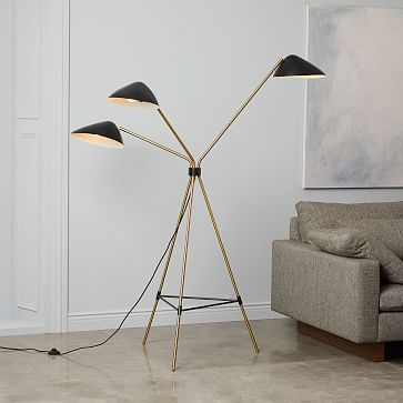 Curvilinear mid century floor lamp 3 lighting black brass