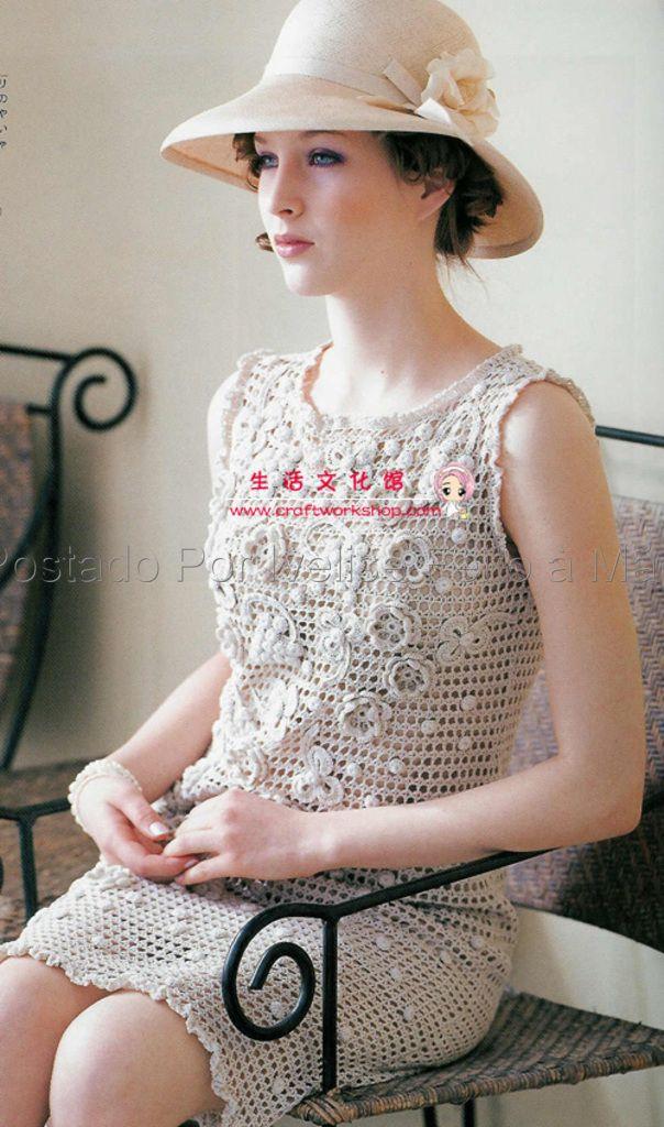 Vestido Com Aplicações Em Crochê Irlandês