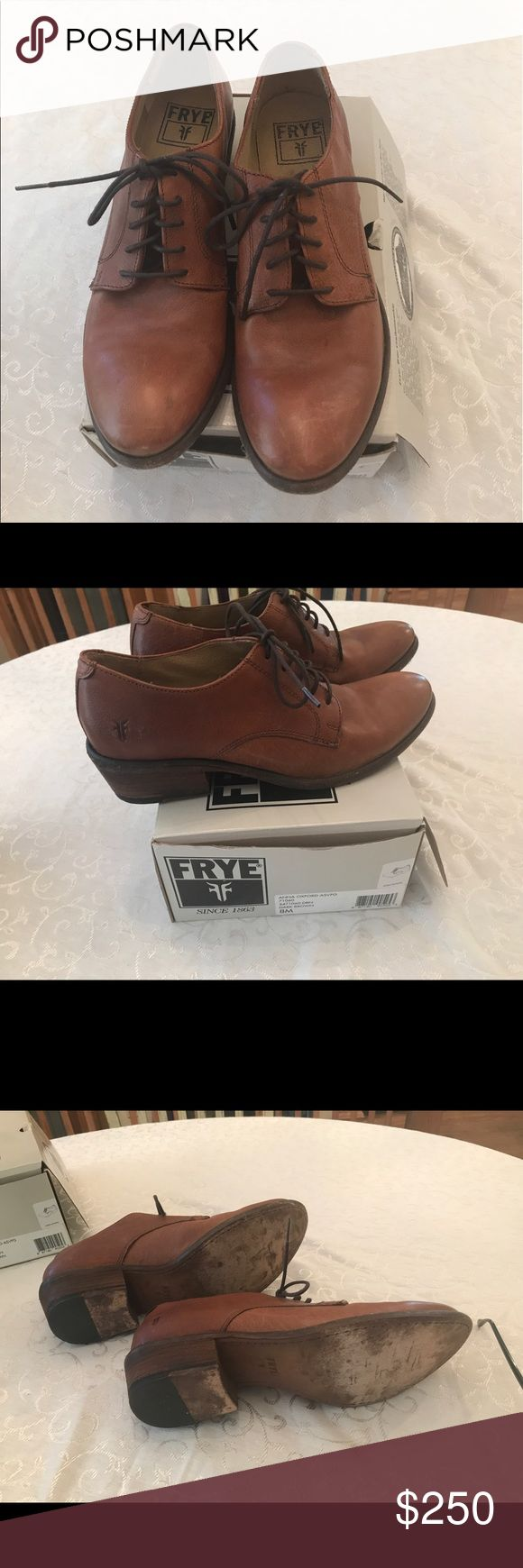 Brown Frye Oxfords, size 8 Worn 3 times. $250. Medium brown Frye Oxfords, size 8 Beautiful shade of brown. By Frye so you know they're made well. Worn fewer than 5 times (maybe 3). Scuff marks on soles is where I rubbed them on concrete so they wouldn't be slippery. Paid at least $350 for them. Price: $250. Frye Shoes Flats & Loafers