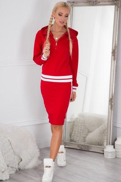 Športová súprava midi sukne a mikiny s kapucňou, červená
