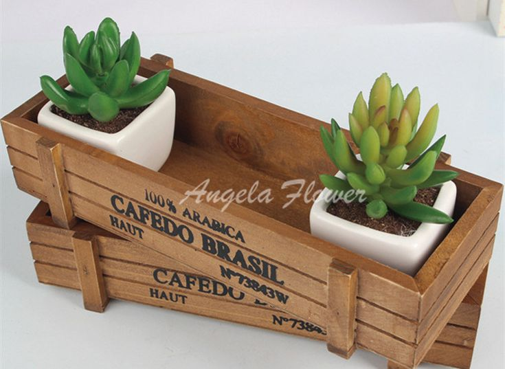 New decorative flower vase Rectangle  box wood flowerpot  decorative palm bonsai landscape  artificial fleshiness Cactus plant-in Vases from Home & Garden on Aliexpress.com | Alibaba Group