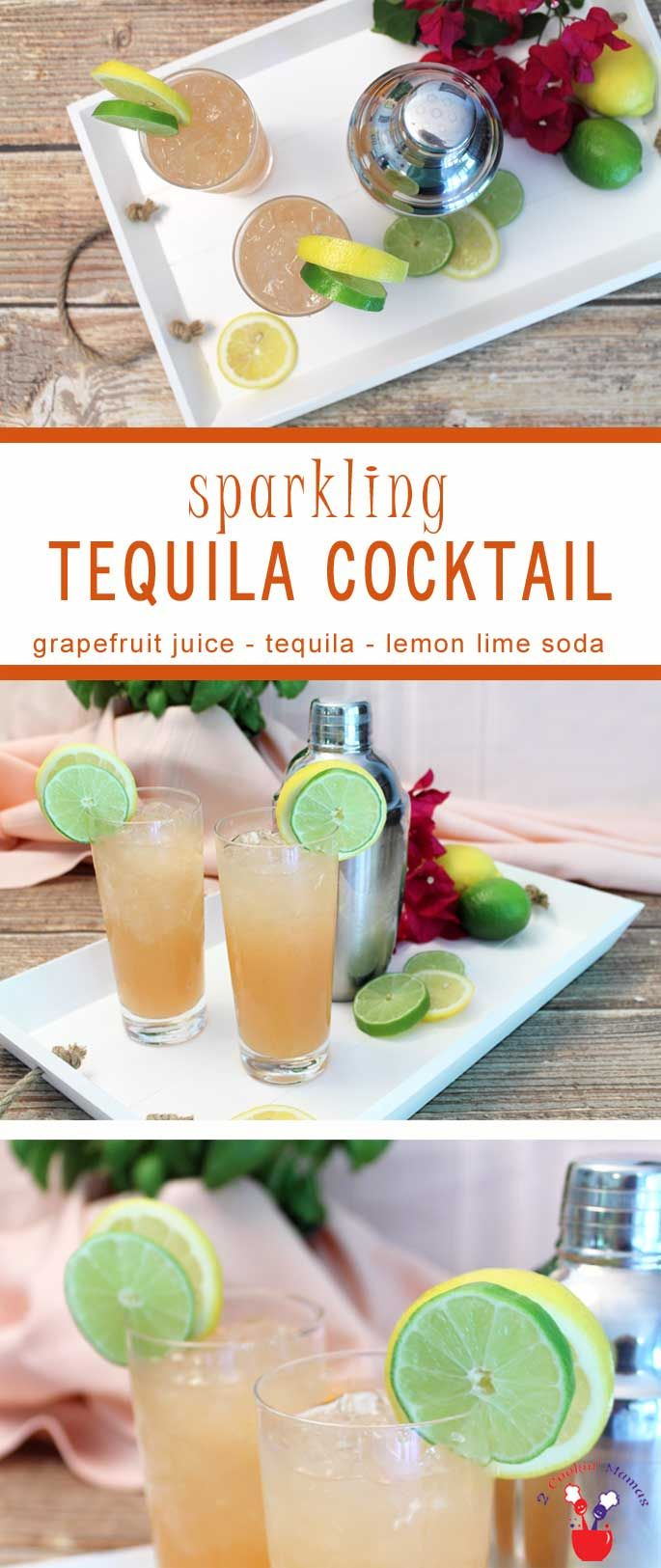 Our Sparkling Tequila Cocktail is a refreshingly tart drink based on the Paloma. Grapefruit juice, tequila & lemon lime soda make this a tropical delight. via @2CookinMamas