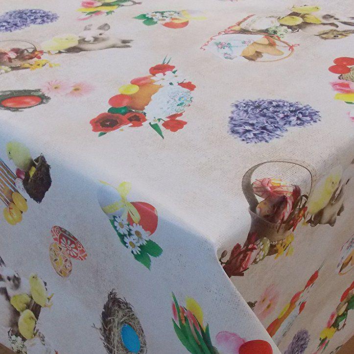 Wachstuch Ostern 3 Bunt/· Eckig 75x30 cm /· L/änge /& Breite w/ählbar/· abwaschbare Tischdecke