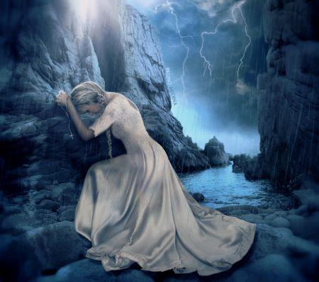 Praise you in this storm - storm, fantasy, girl, raining, sad