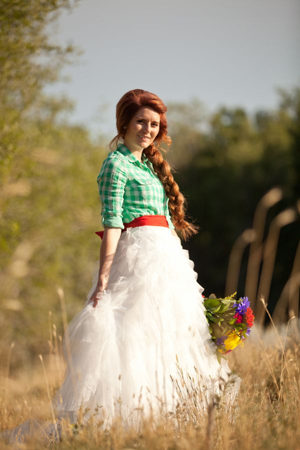 Country wedding gown idea: plaid top with ruffle skirt ...