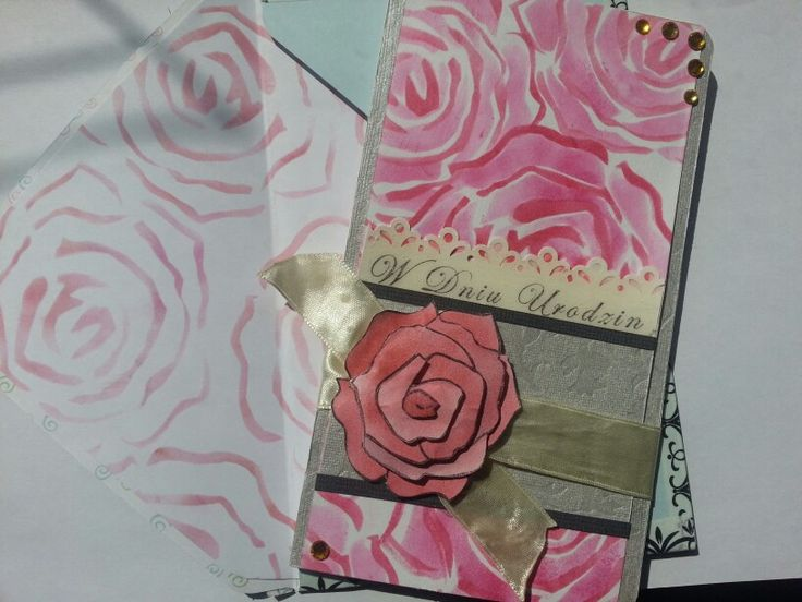 Elegant, rose birthday card and matching envelope