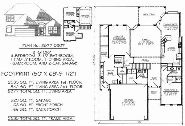 50 Foot Wide House Plans Inspirational Narrow 1 Story Floor Plans 36 To 50 Feet Wide In 2020 House Plans Southern House Plans New House Plans
